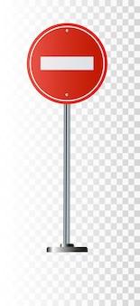 Nenhum sinal de entrada, aviso de tráfego rodoviário e pólo, isolado