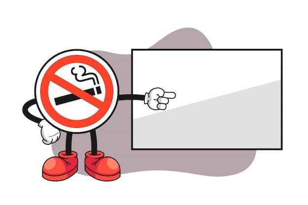 Nenhum sinal de fumar cartoon personagem apontando para um quadro branco