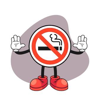Nenhum sinal de fumar cartoon personagem com um gesto de mão parada