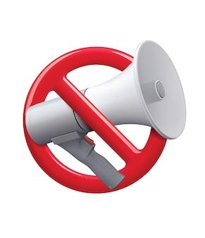 Nenhum sinal de ícone de áudio nenhum ícone de ruído ilustração realista