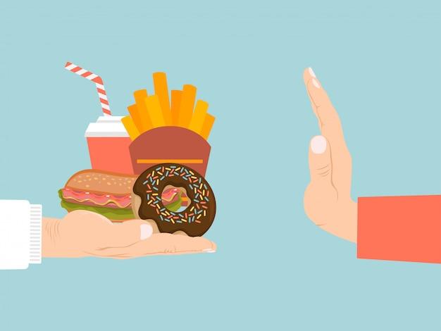 Nenhum sinal do fast food, bandeira da propaganda, rejeição da mão da comida lixo isolada no azul, ilustração. ativista de alimentos saudáveis.