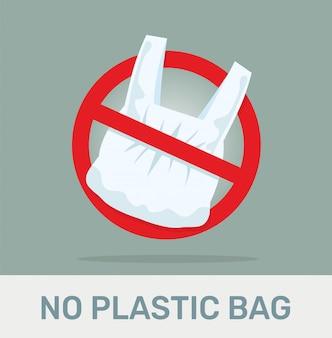 Nenhum sinal proibido do saco de plástico.
