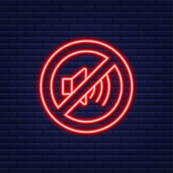Nenhum telefone de som. ícone de néon. telefonema. ícone de telefone celular. ilustração vetorial.