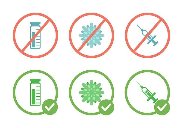Nenhum vírus de vacina e sinal de proibição de seringas e vacinação permitida