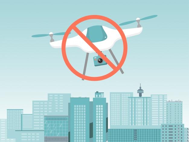 Nenhuma bandeira do conceito de drone, quadcopter moderno dispositivo parar de voar sob a ilustração de paisagem urbana da cidade. proibindo o quadrotor suspiro.