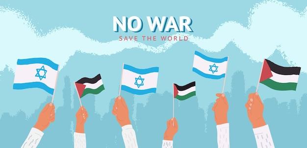 Nenhuma guerra ilustração vetorial reunião pacífica israel e palestina segurando bandeiras nacionais em