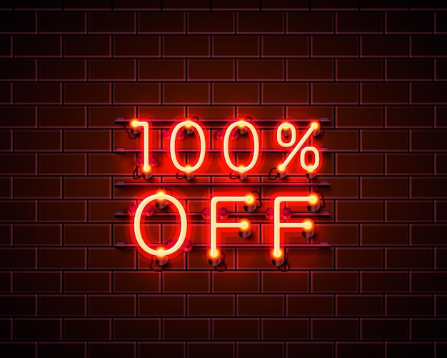 Neon 100 fora do banner de texto. sinal noturno. ilustração vetorial
