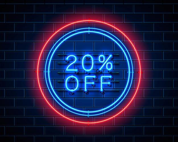 Neon 20 fora do banner de texto. sinal noturno. ilustração vetorial