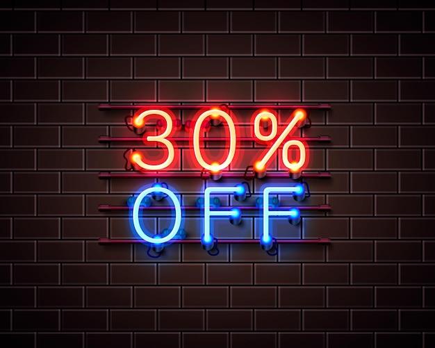 Neon 30 fora do banner de texto. sinal noturno. ilustração vetorial