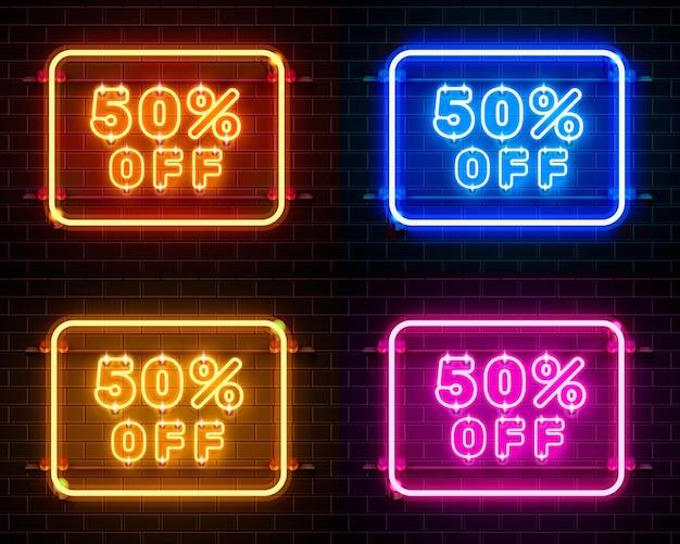 Néon 50 fora do conjunto de cores do banner de texto. sinal noturno. ilustração vetorial Vetor Premium