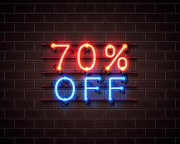 Neon 70 fora do banner de texto. sinal noturno. ilustração vetorial