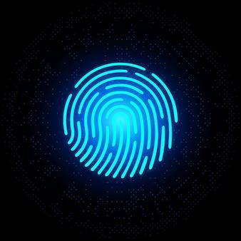 Néon azul de impressão digital em fundo escuro