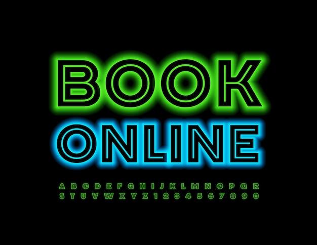 Neon book online conjunto de letras e números do alfabeto verde brilhante