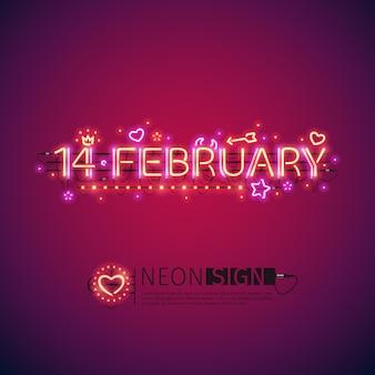 Neon brilhante 14 de fevereiro