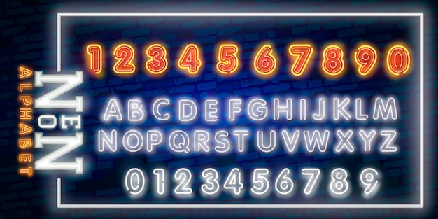 Néon brilhante alfabeto letras, números e símbolos de sinal