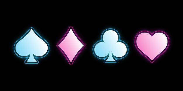 Néon colorido baralho de símbolos para jogar poker e casino.