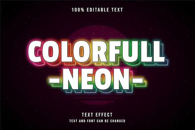 Néon colorido, efeito de texto editável em 3d gradação rosa amarelo laranja azul estilo de texto neon
