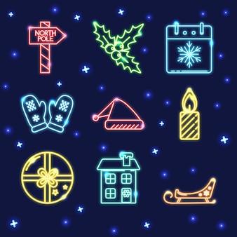 Néon conjunto de ícones de natal