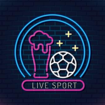 Néon de futebol esporte ao vivo