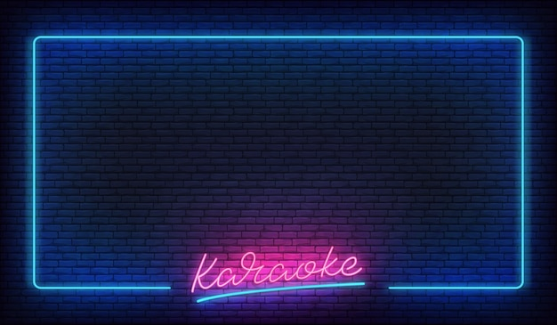 Neon de karaokê. modelo com borda brilhante e letras de karaokê.