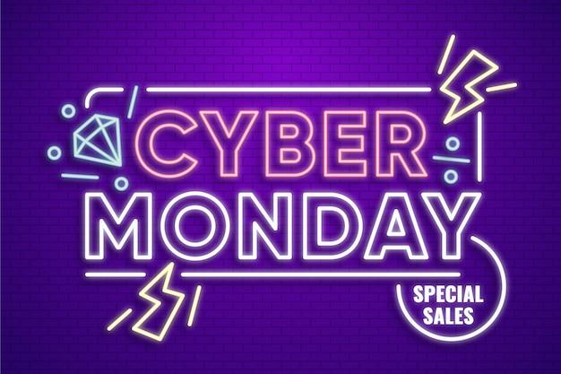 Neon design cyber segunda-feira