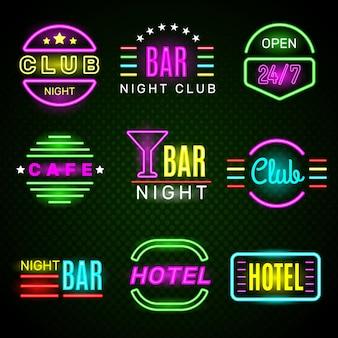 Néon do hotel. emblemas de brilho de sinalização de emblema de clube noturno retro americano.