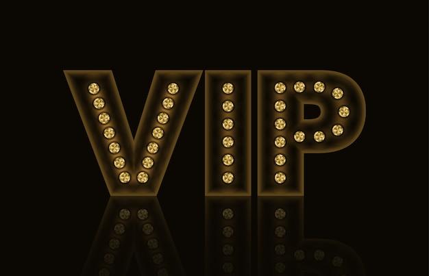 Néon dourado brilhante símbolo vip