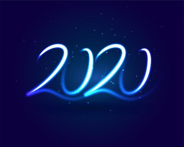 Néon elegante 2020 letras design de cartão de luz azul