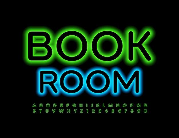 Neon emblem book room fonte iluminada verde letras e números brilhantes do alfabeto