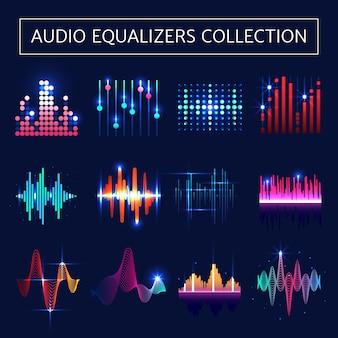 Néon equalizador de áudio brilhante conjunto com símbolos de ondas sonoras em fundo azul