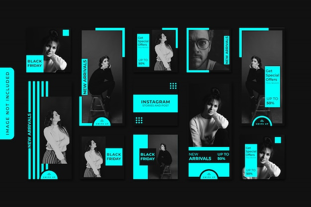 Neon fashion sale instagram stories and feed post bundle kit banner premium