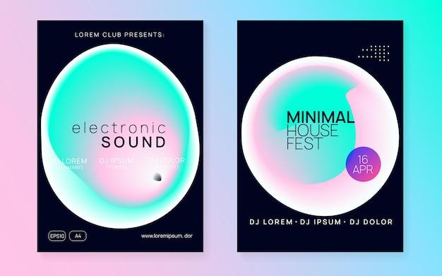 Neon flyer. efeito brilhante para capa. trance e design de concertos.