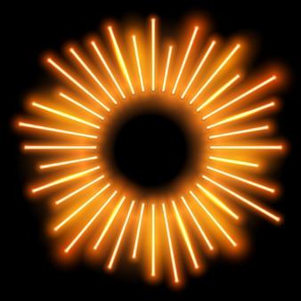 Neon frame sunburst shape raios brilhantes de luz