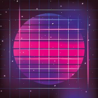 Néon geométrico do sol e estilo gráfico