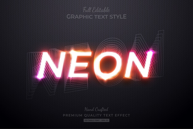 Neon gradient editable custom text style effect premium