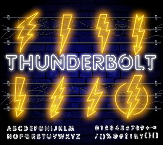 Neon grande conjunto de relâmpago. sinal de flash elétrico brilhante, ícones de energia eletricidade raio.