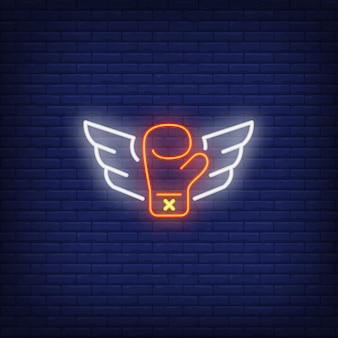 Neon icon of flying luva de boxe com asas