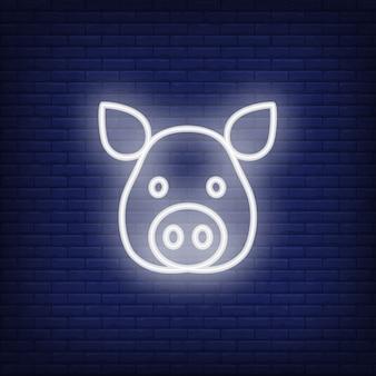 Néon, ícone, de, cabeça porco