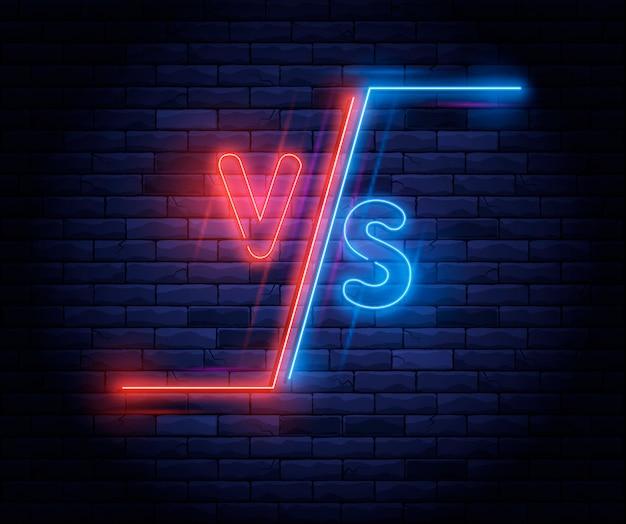 Néon iluminado versus tela