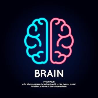 Néon logotipo cérebro cor silhueta sobre um fundo escuro.