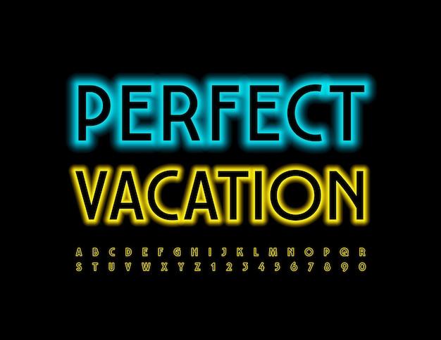 Neon perfect vacation fonte amarelo brilhante letras e números do alfabeto