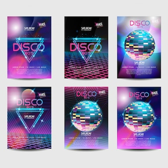 Néon retro do projeto do disco do estilo 80s do poster