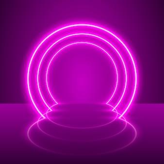 Neon show luz pódio fundo roxo. ilustração vetorial