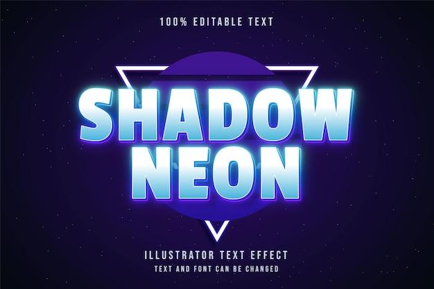 Néon sombra, efeito de texto editável em 3d com gradação azul e estilo de texto em néon roxo