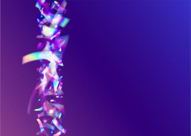 Neon tinsel. brilho retro azul. kaleidoscope confetti. efeito de falha. folha moderna. elemento brilhante. ilustração multicolor do borrão. crystal art. tinsel neon roxo