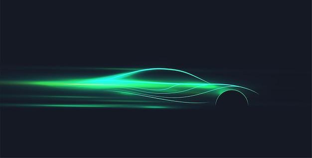 Néon verde brilhando no escuro carro elétrico no conceito de corrida de alta velocidade. silhueta de ev rápido.