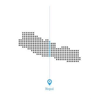 Nepal pontilhada mapa vector design