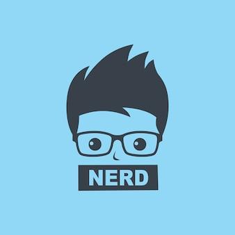 Nerd geek cara cartoon personagem sinal logo vector