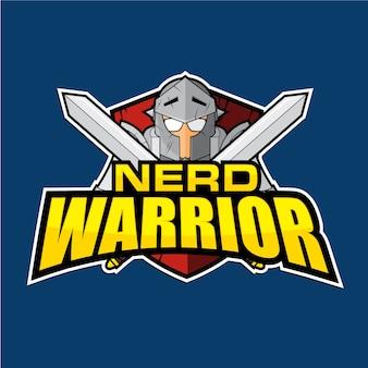 Nerd warrior badge logotipo