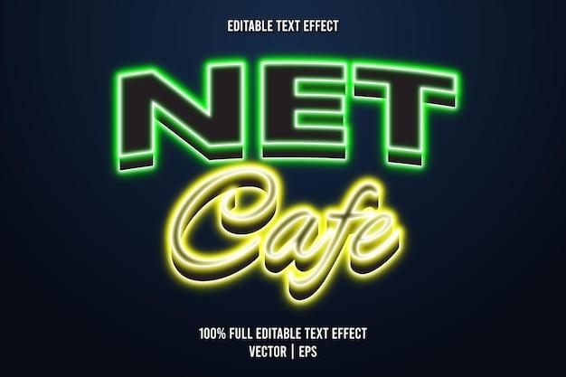 Net cafe com efeito de texto editável em estilo neon